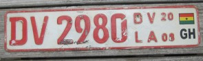 Africa Ghana Flag License Plate DV 2980 Trade Plate