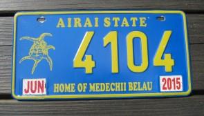 Airai State License Plate Home of The Medechii Belau 2015