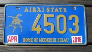 Airai State License Plate Home of The Medechii Belau 2016