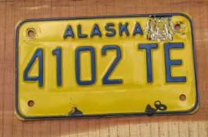 Alaska Yellow Blue Motorcycle License Plate
