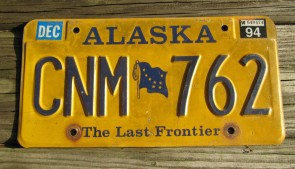 Alaska Yellow Blue Flag License Plate 1994