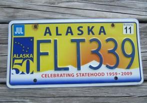 Alaska 50th Anniversary Celibrating State Hood License Plate 2011 FLT 339