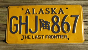 Alaska Yellow Blue Motorcycle License Plate 2016