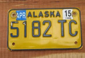 Alaska Yellow Blue Motorcycle License Plate 2015
