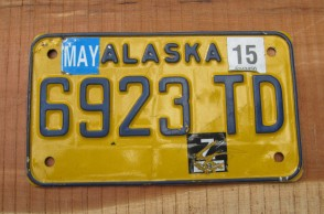 Alaska Yellow Blue Motorcycle License Plate 2015