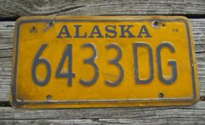 Alaska Blue Yellow License Plate 1990's