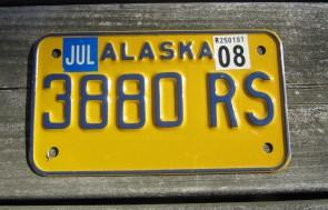 Alaska Motorcycle License Plate Yellow Blue 2008