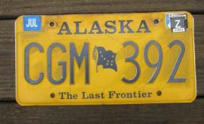 Alaska Yellow Blue Flag License Plate 1990's