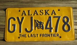 Alaska Yellow Blue Flag License Plate