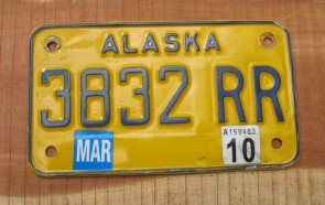 Alaska Yellow Blue Motorcycle License Plate 2010