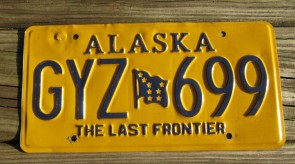 Alaska Yellow Blue Motorcycle License Plate 2010