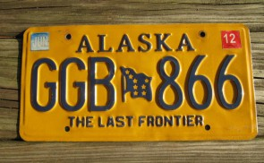 Alaska Yellow Blue Motorcycle License Plate 2008