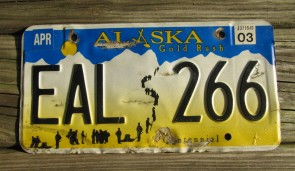 Alaska Gold Rush License Plate Centennial 2003