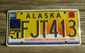 Alaska 50th Anniversary Celebrating State Hood License Plate 2016