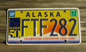 Alaska 50th Anniversary Celebrating State Hood License Plate 2017