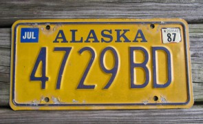 Alaska Yellow Blue License Plate 1987