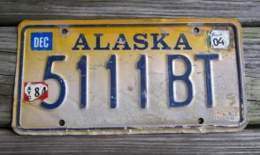 Alaska Yellow Blue License Plate 2004