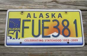 Alaska 50th Anniversary Celebrating State Hood License Plate FUE 381