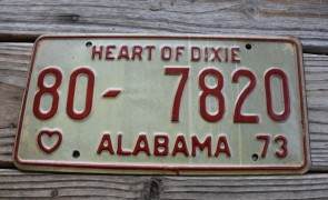 Alabama White Red License Plate 1973 Heart of Dixie 80 7820