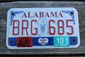Alabama Motorcycle License Plate Motorcycle Rider 2010
