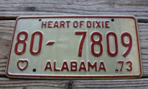 Alabama White Red License Plate 1973 Heart of Dixie 80 7809