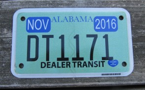 Alabama Motorcycle License Plate Dealer In Transit 2016