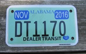 Alabama Motorcycle License Plate Dealer In Transit 2016