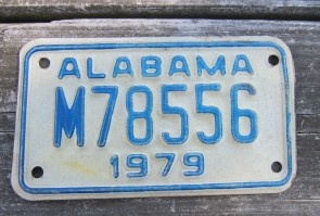 Alabama Motorcycle License Plate White Blue 1979