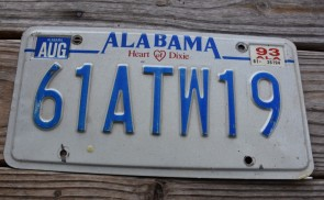 Alabama Heart of Dixie License Plate 1993 61ATW19