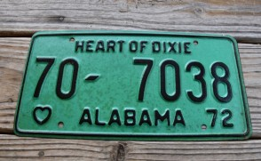 Alabama Green License Plate 1972 Heart of Dixie 70 7038
