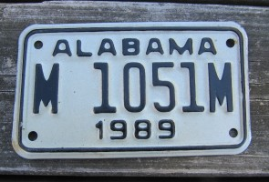 Alabama Motorcycle License Plate White Black 1989