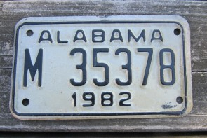Alabama Motorcycle License Plate White Black 1982
