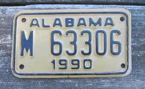Alabama Motorcycle License Plate Gold Black 1990