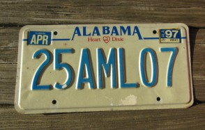 Alabama Heart of Dixie License Plate 1997