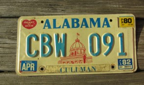 Alabama Capitol Heart of Dixie License Plate 1982
