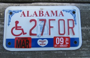 Alabama Motorcycle License Plate Disabled Wheel Chair 2009
