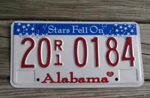Alabama Stars Fell On License Plate