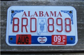 Alabama Motorcycle License Plate Motorcycle Rider 2009