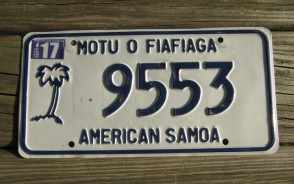 American Samoa Islands Territory License Plate United States