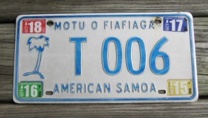 American Samoa Islands Territory Taxi License Plate United States