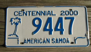 American Samoa Islands Territory  Centennial License Plate United States