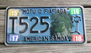 American Samoa Islands Taxi License Plate United States