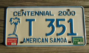 American Samoa Islands Territory  Centennial Taxi License Plate United States