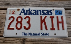 Arkansas White The Natural State License Plate 2012 283 KIH