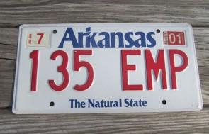 Arkansas White The Natural State License Plate 2001 135 EMP