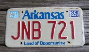 Arkansas Motorcycle License Plate Red White 2016