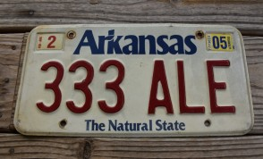 Arkansas White The Natural State License Plate 2003 333 ALE