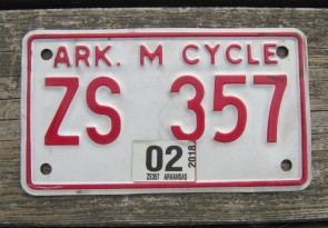 Arkansas Motorcycle License Plate Red White 2018