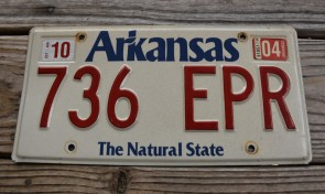 Arkansas White The Natural State License Plate 2004 736 EPR
