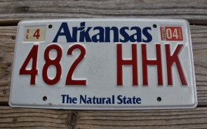Arkansas White The Natural State License Plate 2004 482 HHK